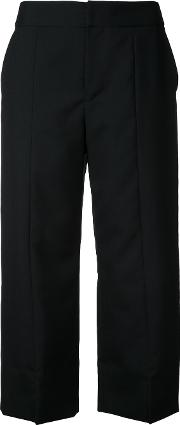 Straight Cropped Trousers Women Wool 36, Black