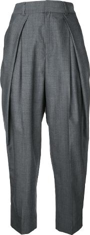 Tucked Tailored Trousers Women Wool 36, Grey