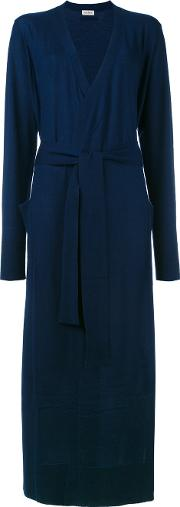 Long Belted Cardigan Women Cashmere M, Blue