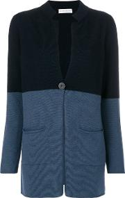 Le Tricot Perugia Two Tone Cardigan Women Silkcashmerevirgin Wool S, Blue