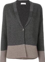 Le Tricot Perugia Two Tone Cardigan Women Virgin Wool S, Grey