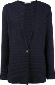 Ribbed Cardigan Women Cotton S, Blue