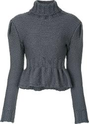 Frill Hem Knitted Roll Neck Sweater