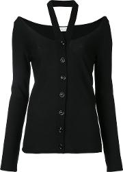 Off Shoulder Cardigan Women Virgin Wool S, Black