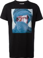 Face Print T Shirt Men Cotton S, Black