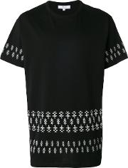 Printed Hem T Shirt Men Cotton S, Black