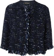 Cropped Instarsia Jacket Women Nylonpolyestervirgin Wool 44, Blue