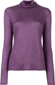 Fine Knit Roll Neck Jumper Women Cashmeremodal 46, Pinkpurple