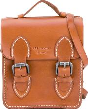 Buckled Satchel Kids Calf Leather One Size, Brown