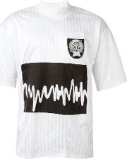 Sound Wave Print T Shirt Men Polyester L, White