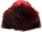 Padded Trooper Hat Women Feather Downfox Furpolyester One Size, Women's, Red