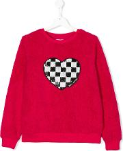 Chequered Sequin Heart Sweater