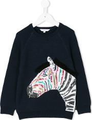 Little Marc Jacobs Sequinned Zebra Sweater Kids Cottonpolyestercashmere 4 Yrs, Blue