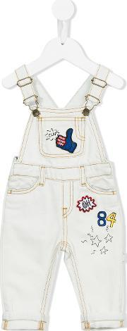 Patched Dungarees Kids Cottonpolyesterviscose 6 Mth, Infant Boy's, Nudeneutrals