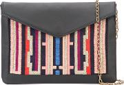 Embroidered Envelope Clutch Women Leather One Size, Black