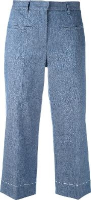 Cropped Trousers Women Cottonlinenflaxcupropolyester 42, Blue