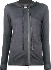 Lorena Antoniazzi Hooded Zip Cardigan Women Silknyloncashmeremetallic Fibre 40, Grey