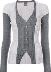Lorena Antoniazzi Ribbed V Neck Cardigan Women Cashmere 44, Grey