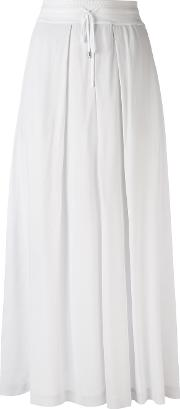 Pleated Cropped Trousers Women Cottonspandexelastaneviscose 38, White