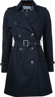 Belted Trench Coat Women Cotton 36, Blue