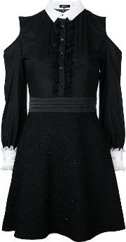 Cold Shoulder Shirt Dress Women Cottonlyocell 36, Black