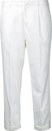 Cropped Tailored Trousers Women Linenflaxpolyesterrayon 7, White