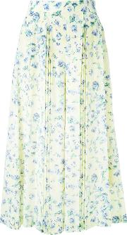 Floral Print Wide Legged Cropped Trousers Women Polyester 34, Yelloworange