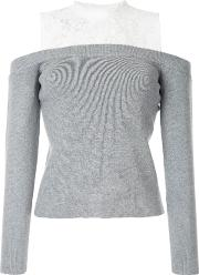 Loveless Lace Embroidered Top Women Acryliccotton 34, Grey
