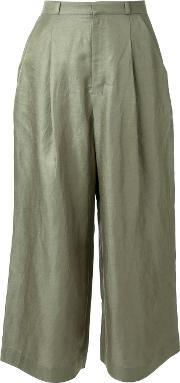 Wide Legged Cropped Trousers Women Linenflaxrayon 34, Green