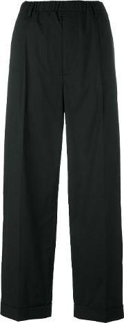 Drop Crotch Straight Trousers Women Cottonspandexelastane 1, Black