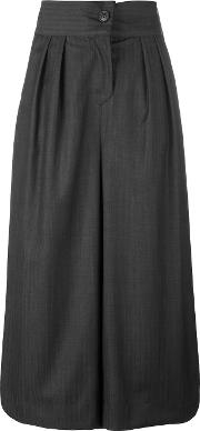 Soft Striped Palazzo Pants Women Virgin Wool 3, Grey