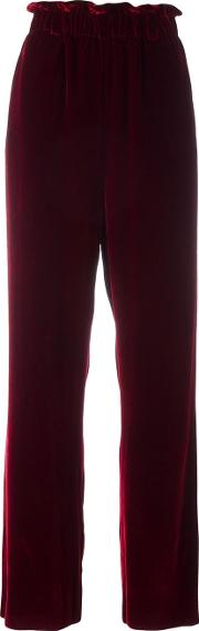 Wide Leg Trousers Women Silkcottonviscose 2, Red