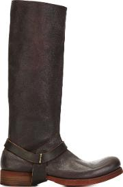Buckle Detail Knee Boots Women Leather 38, Brown