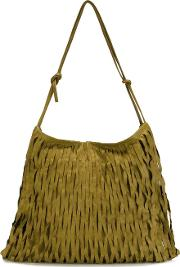 Large Fringed Crossbody Bag Women Calf Leather One Size, Green