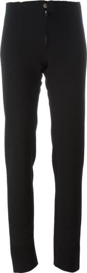 Raw Edge Slim Fit Trousers Women Spandexelastanevirgin Wool 44, Black