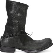 Silver Tone Ringed String Boots Men Buffalo Leather 44, Black