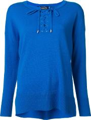 Lace Up Round Neck Jumper Women Cashmere Xs, Women's, Blue