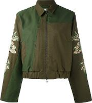 Embroidered Sleeve Jacket Women Cotton 12, Green