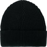 Ribbed Beanie Hat Men Wool One Size, Black
