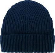 Ribbed Beanie Hat Men Wool One Size, Blue