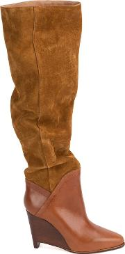 Wedge Knee High Boots Women Calf Leathergoat Suede 385
