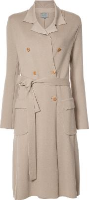 Double Breasted Knit Trenchcoat Women Cashmere Xxs, Nudeneutrals