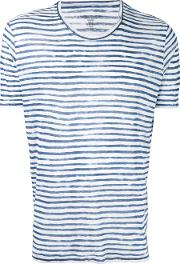 Striped Crewneck T Shirt Men Linenflax S, White