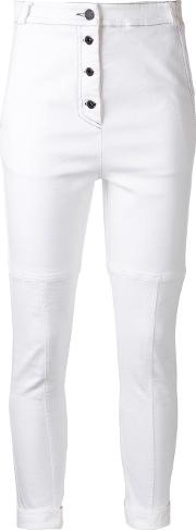 Pushing Buttons Trousers Women Cottonpolyesterspandexelastane 8, White