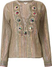 Lurex Striped Embroidered Blouse