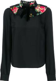 Manoush Ruffled Neck Blouse Women Silk 40, Black