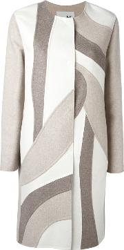 Patchwork Single Breasted Coat Women Cashmere 42, Nudeneutrals
