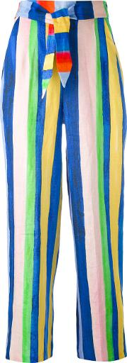 Striped High Waisted Trousers Women Linenflaxviscose 2, Blue