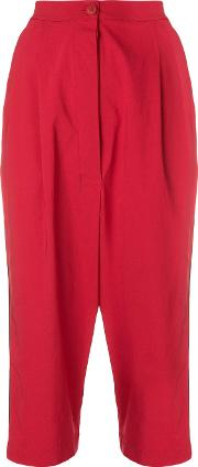 Dropped Crotch Cropped Trousers