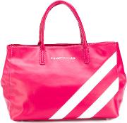 Striped Tote Women Leather One Size, Pinkpurple